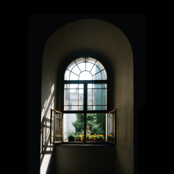 Offenes Fenster mit grün im Hintergrund
